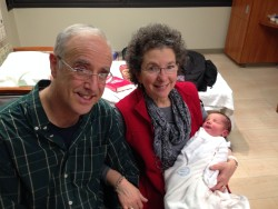 Me and Peter with brand new grandson.